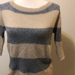 Anthropology Brand Love Notes Metallic Sweater
